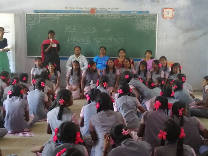 NSS Activity – Sports, Arts and Drawaing Competition for School Students at Govt. Girls Higher Secondary School, Ekanampettai, Kanchipuram, organized by DCE - NSS Unit, on 14 Feb 2020